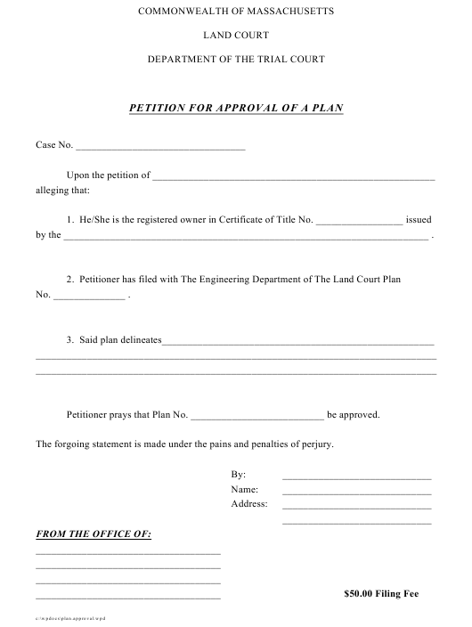 """""""Petition for Approval of a Plan"""" - Massachusetts Download Pdf"""