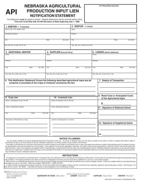 """Nebraska Agricultural Production Input Lien Notification Statement"" - Nebraska Download Pdf"