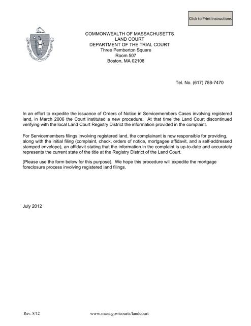 """Attorney's Affidavit as to Current Registered Land Information"" - Massachusetts Download Pdf"