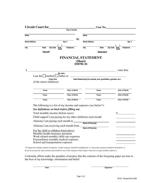 Form DR30  Printable Pdf