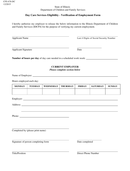 Form CFS678-DC  Printable Pdf