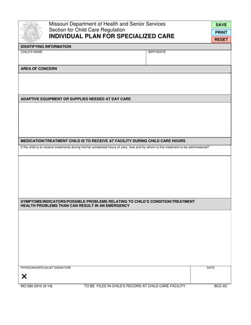 Form MO580-2910  Printable Pdf