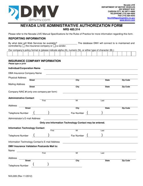 Form NVL009  Printable Pdf