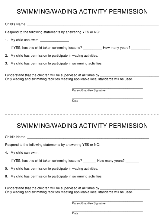 """Permission Slip - Swimming/Wading Activities"" - Maryland Download Pdf"