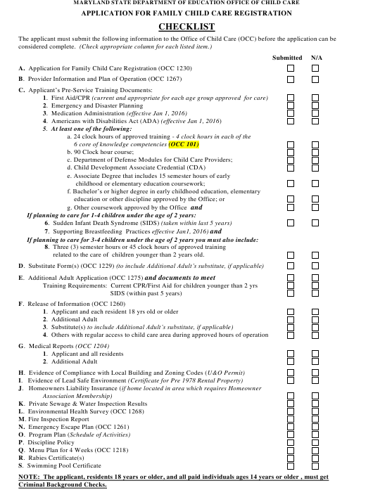 """""""Application for Family Child Care Registration Checklist"""" - Maryland Download Pdf"""