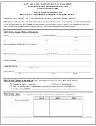 """Form OCC200 """"Application to Operate an Educational Program in a Nonpublic Nursery School"""" - Maryland"""