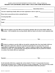 """Form OCC675 """"Request for Continuing Large Family Child Care Home Registration"""" - Maryland"""