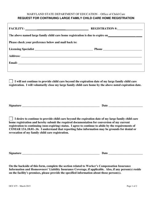 Form OCC675  Printable Pdf