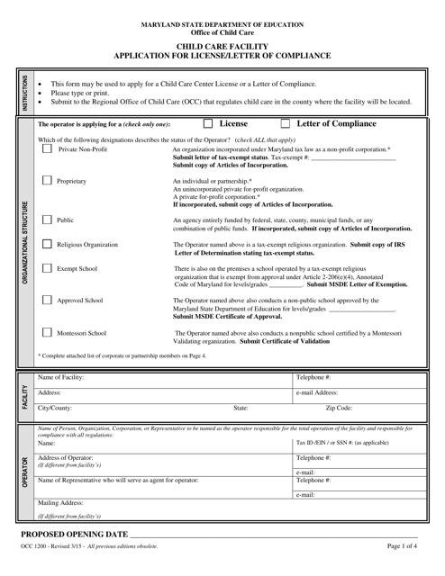 Form OCC1200  Printable Pdf