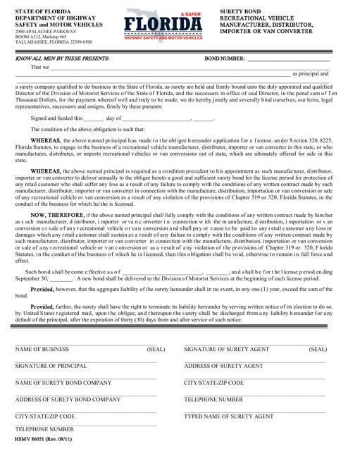Form HSMV86051  Printable Pdf