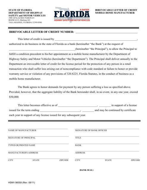 Form HSMV86059  Printable Pdf