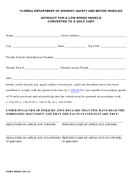 """Form HSMV86066 """"Affidavit for a Low Speed Vehicle Converted to a Golf Cart"""" - Florida"""