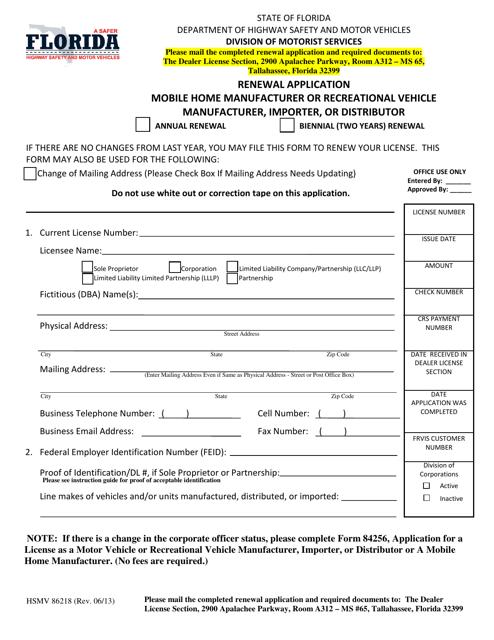 Form HSMV86218  Printable Pdf