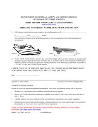 "Form HSMV87017 ""Affidavit to Correct Vessel Length Documentation"" - Florida"