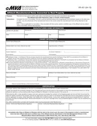 "Form VR-451 ""Affidavit Manufactured Home Converted to Real Property"" - Maryland"