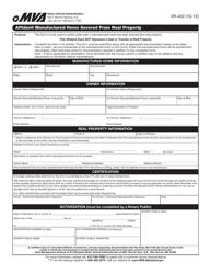 "Form VR-452 ""Affidavit Manufactured Home Severed From Real Property"" - Maryland"
