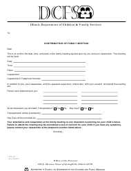 """Form CFS457 """"Confirmation of Family Meeting"""" - Illinois"""