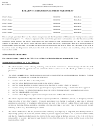 "Form CFS458 ""Relative Caregiver Placement Agreement"" - Illinois"