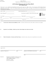 "Form CFS230 ""Acr Feedback Response and Action Plan (Frap) for Critical Issues"" - Illinois"