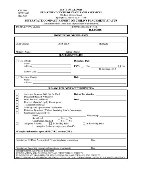 Form CFS490-1 (ICPC-100B)  Printable Pdf