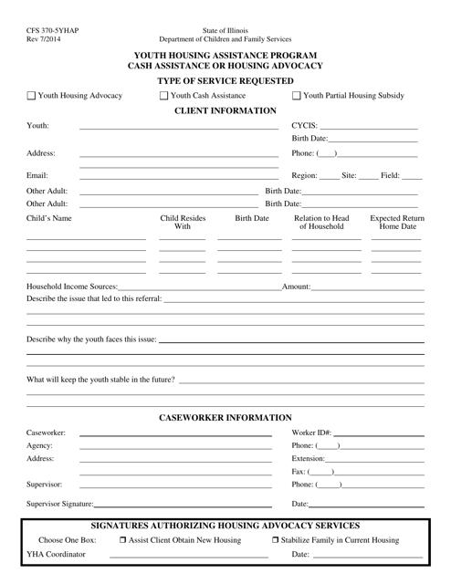Form CFS370-5YHAP  Printable Pdf