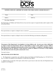 "Form CANTS8 ""Notification of a Report of Suspected Child Abuse and/ or Neglect"" - Illinois"