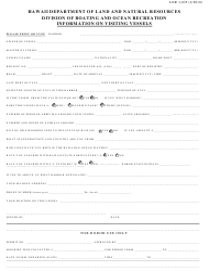 "Form LNR3-035 ""Registration for Visiting Vessels"" - Hawaii"
