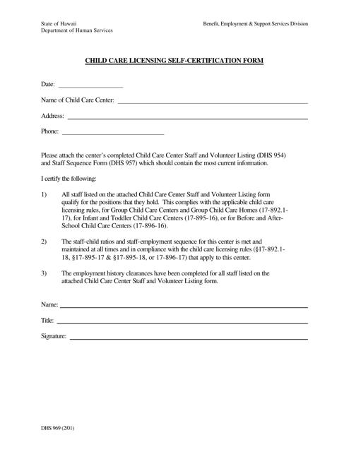 Form DHS969 Download Printable PDF Or Fill Online Child
