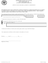 """SOS Form NP006 """"Application for Replacement Commission"""" - Mississippi"""