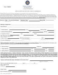 """Form 11NP001 """"Application for Notary Public Commission"""" - Mississippi"""