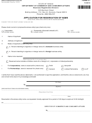 "Form X-1 ""Application for Reservation of Name"" - Hawaii"