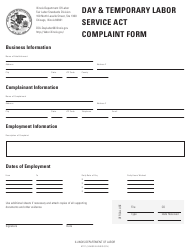 """Day & Temporary Labor Service Act Complaint Form"" - Illinois"