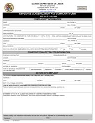 "Form IL452CM03 ""Employee Classification Act Complaint Form"" - Illinois"