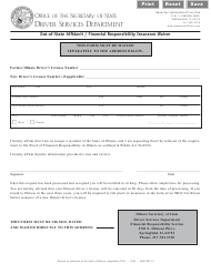 """Form DSD FR9.2 """"Out-Of-State Affidavit / Financial Responsibility Insurance Waiver"""" - Illinois"""