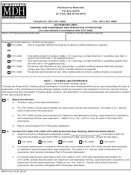 """MDH Form 313T """"Authorized User Training and Experience and Preceptor Attestation"""" - Minnesota"""