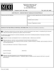 """Form 314 """"Certificate - Disposition of Radioactive Materials"""" - Minnesota"""