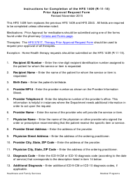 """Instructions for Form HFS1409 """"Prior Approval Request Form"""" - Illinois"""