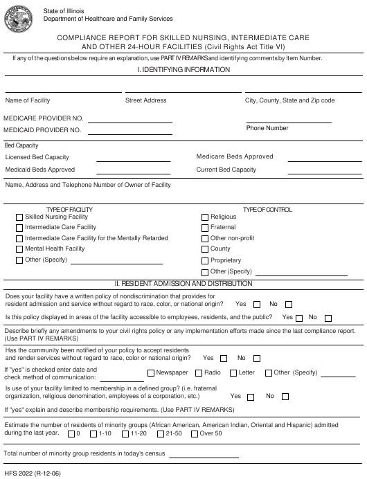 Form HFS 2022 Fillable Pdf