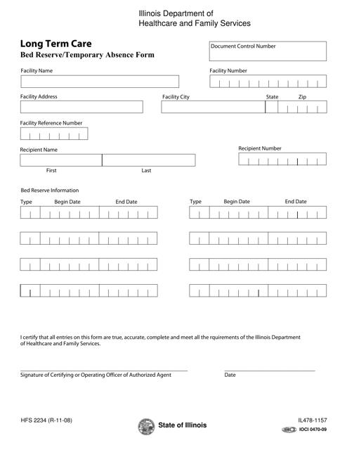 Form HFS2234 (IL478-1157)  Printable Pdf