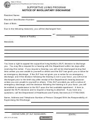 "Form HFS3731 ""Supportive Living Program Notice of Involuntary Discharge"" - Illinois"