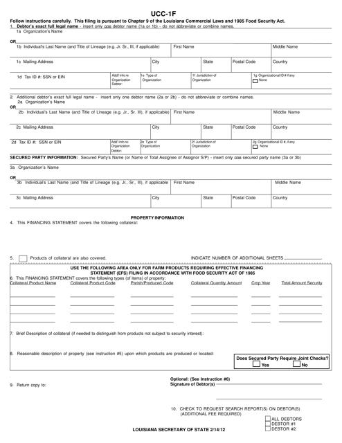 Form UCC-1F  Printable Pdf