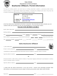 """Bowhunter Affidavit / Permit Information"" - Idaho"