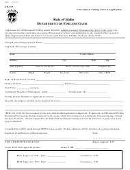 "Form SP-119 ""Educational Fishing Permit Application"" - Idaho"