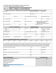 "EIQ Form 1.0 (MO780-1431) ""Emissions Inventory Questionnaire (Eiq) General Plant Information"" - Missouri"