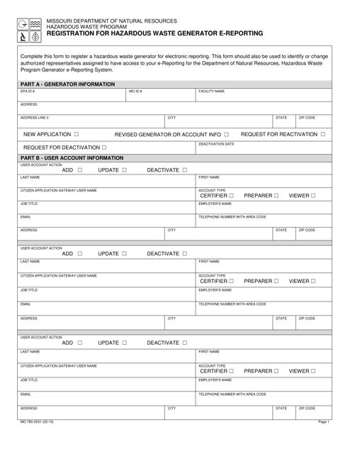 Form MO780-2531  Printable Pdf