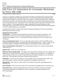 "Instructions for EIQ Form 2.2, MO780-1438 ""Incinerator Worksheet"" - Missouri"