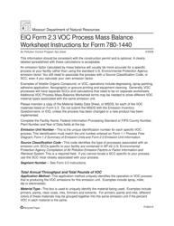 "Instructions for EIQ Form 2.3, MO780-1440 ""VOC Process Mass Balance Worksheet"" - Missouri"