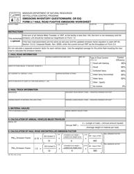 """EIQ Form 2.7 (MO780-1445) """"Haul Road Fugitive Emissions Worksheet"""" - Missouri"""