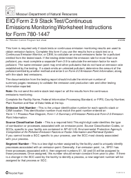 "Instructions for EIQ Form 2.9, MO780-1447 ""Stack Test/Continuous Emissions Monitoring Worksheet"" - Missouri"