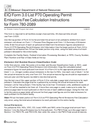 "Instructions for EIQ Form 3.0, MO780-2089 Part 70 ""Operating Permit Emissions Fee Calculation"" - Missouri"